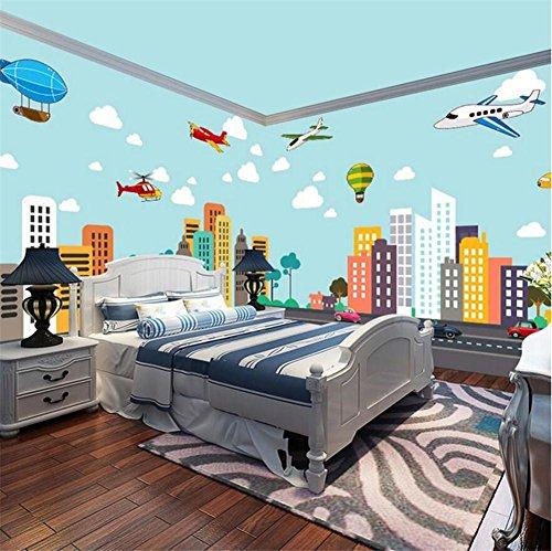 MOPP Tapeten Tapeten-kreatives nettes Karikatur-Stadt-Muster 3D Wandgemälde für Kinder Schlafzimmer/Wohnzimmer/Kindergarten/themenorientiertes Hotel/Vergnügungspark
