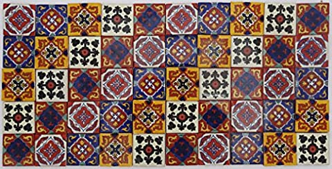 Pack of 50 Assorted Mexican Talavera Handmade 5cm Tiles: El Cuadrángulo