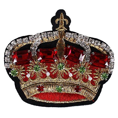 2Perlen Kristall Krone Stoff Patches Aufnäher Strass Diamant Abzeichen Patches Garment Broschen verziert Craft Nähen -