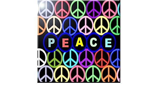 12 x 12 Rikki Knight Orange Peace Logo on Color Design Ceramic Art Tile