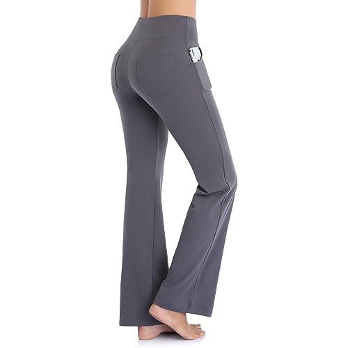 Ollrynns Pantaloni Yoga Donna Vita Alta Pantalone Sportivi Bootcut a Gamba Larga Pantaloni a Zampa d'Elefante Flare Leggings con Tasche per Sportivi Fitness Yoga N151