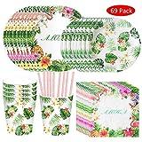 Amycute 69 Piezas Vajilla de Hawaianos cumpleaños Adulto, Vajilla Diseño Flamenco Verde Desechable Vasos, Platos, Servilletas, pajas, para Fiesta de Tropical Piscina de Verano