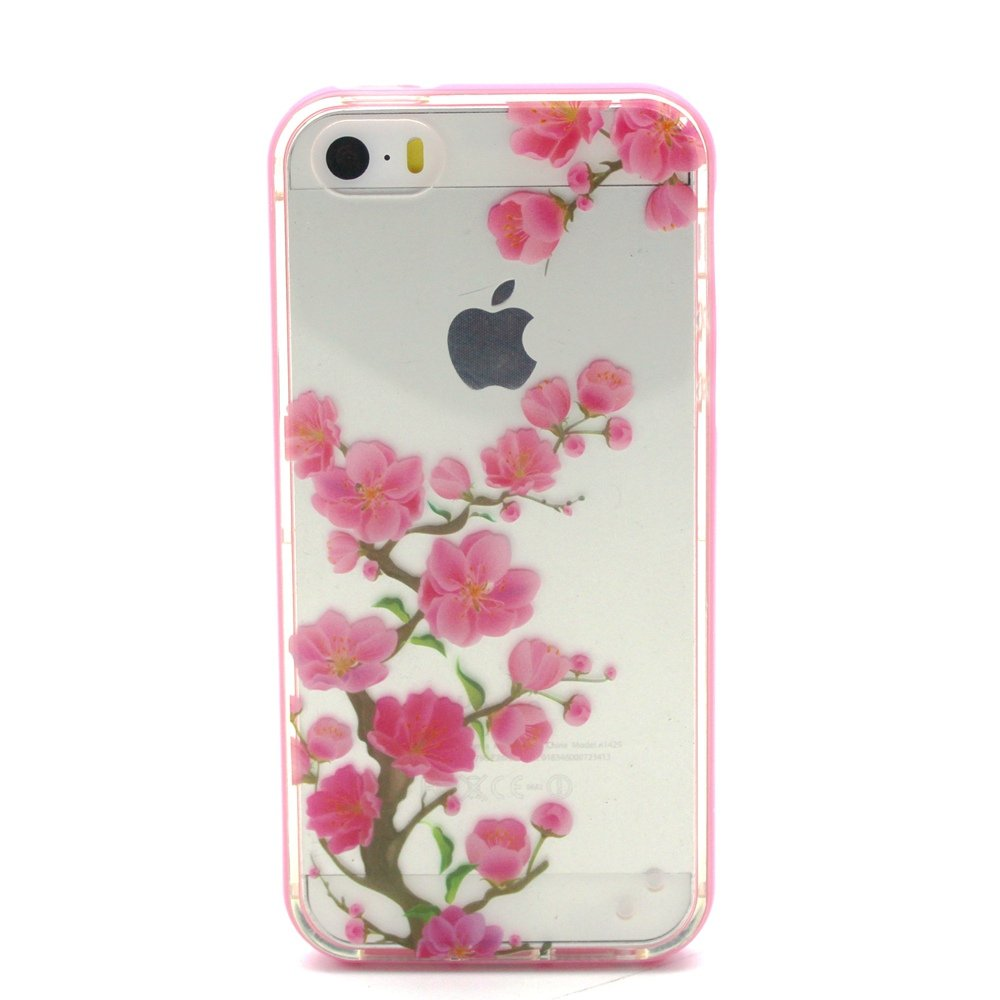 Ekakashop iPhone 5 Custodia, iPhone 5S Fashion Cover, 2 in 1 Rosa Bumper Custodia Chiaro Trasparent