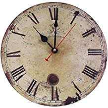 soledi reloj de pared de cuarzo estilo toscano vintage francesa paris reloj de madera cm