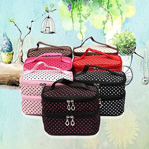 Maquillaje Bolsas yiitay lunares cosméticos bolsa de almacenamiento impermeable bolsa de lavado a mano de dos plantas