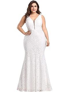 Ever-Pretty Robe de Soir/ée Sir/ène en Dentelle Robe de Bal Col en V Femme Grand Taille 08838PL