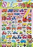 Charo 3D Bus Feuerwehr Bagger Polizei Roller LKW bunt Aufkleber 1 Blatt 250 mm x 200 mm Sticker Basteln Kinder Party