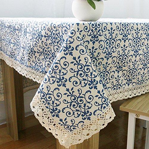 Weanorey Retro Blau und Weiß Tischdecke mit Spitze Baumwolldruck Abdeckung Wohnkultur Chinesischen Stil Rechteckige Dinning Tischdecken140 * 180 cm