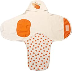 Brim Hugs and Cuddles Orange Cotton Print Swaddle for Born Baby boy and Baby Girl