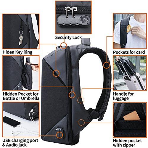 Imagen de kalidi portátil  con cerradura antirrobo  agua resistencia con usb puerto de carga conector de audio compatible con hasta 15.6inch laptop/notebook negro negro alternativa