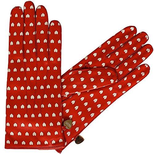 Moschino guanti in pelle ferrarirot con cuori, Size 7; 7,5; 8 crema rosso 7.5