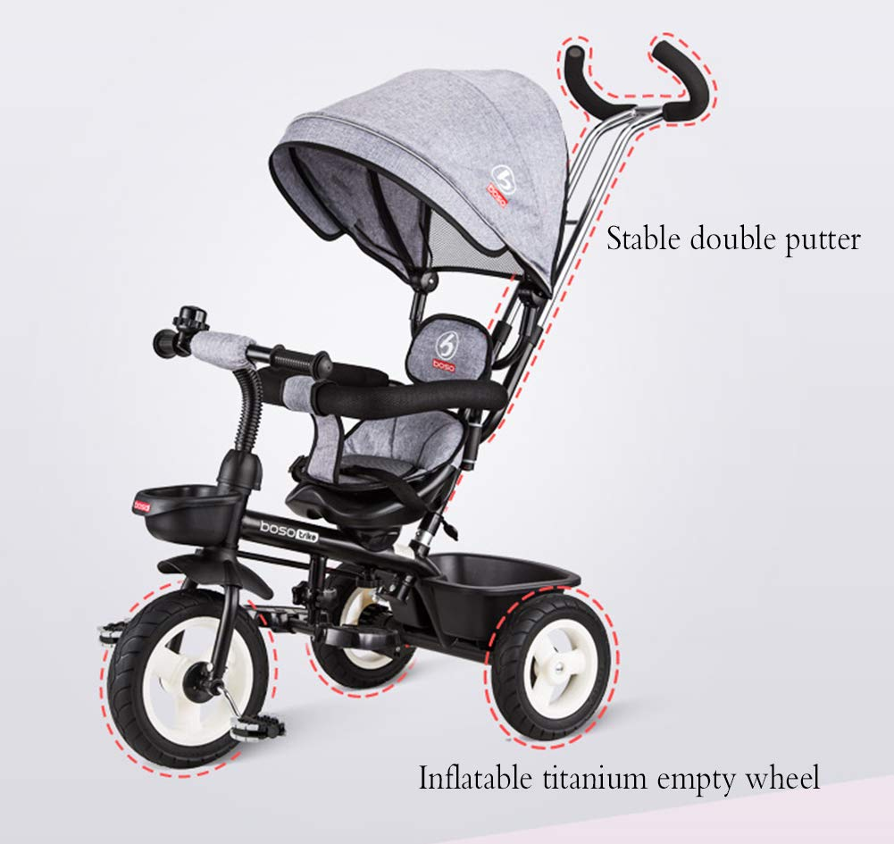 Children's Tricycle, Double-Sided Seat Stroller Adjustable Sun Visor Enlarged Storage Box Folding Pedal 3 to 6 Years Old Baby Indoor YYY ✅ 4-in-1 multi-function: two-way steering seat with push button unit. Push-pull, personalized putter multi-range adjustment putter to meet children of different heights, as the child grows, the tricycle can be adjusted to the fourth level. ✅ Durable material: This thrust tricycle is made of gem steel + environmentally friendly titanium empty wheel, with excellent strength, light resistance and anti-flaking adjustable awning. The tarpaulin material has a waterproof layer that blocks harmful ultraviolet rays, has a good sunscreen effect, and has mesh ventilation. ✅Safe design: The front wheel clutch has a two-stroke system. The steering linkage and quiet design effectively control the noise problems that may occur during implementation. Seat belt and guardrail and guardrail with double fixing pad 2