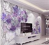 Yosot 3D Tapete Lila Rose Schmuck Schmetterling Hintergrund Moderne Europa Kunst Wandbild Für Wohnzimmer Große Malerei Home Decor-250Cmx175Cm