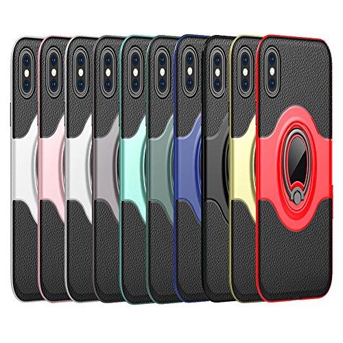 """iPhone X Ring Stand Coque, SHANGRUN TPU Gel Silicone Métal Rotation Intégrée Bague de Serrage Support Case Coque avec Béquille Housse Étui pour iPhone X 5.8"""" Rouge Or"""