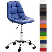 CLP Chaise de Bureau Emil en Simili-Cuir, siège matelassé, Chaise pivotante avec Support en métal chromé, Hauteur réglable