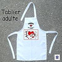 Texti-Cadeaux-Tablier cuisine adulte Coeur à personnaliser Exemple: Mamie, Maman, Agnes