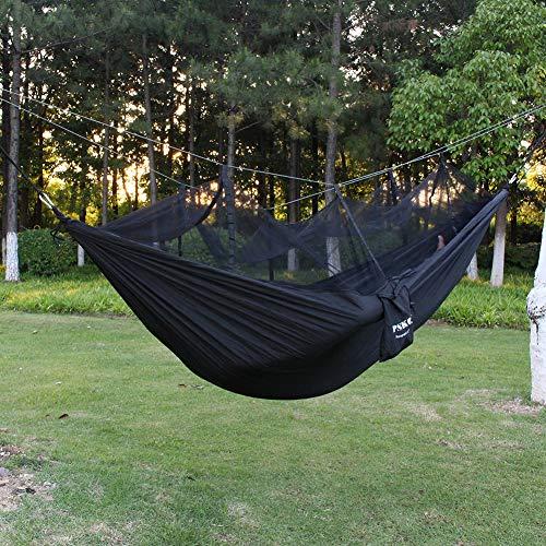 PSKOOK Camping Hängematte mit Moskitonetz Ultraleichte Reise-Backpacking-Hängematte(Mit Karabiner) (Schwarz)