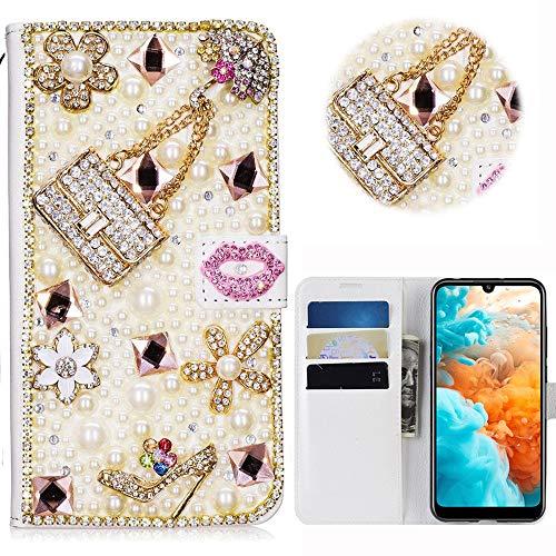 Print Strass-handtasche Geldbeutel (Huawei P Smart Plus 2019 Glitter Hülle Case,3D Handtasche Absatz Lippe Strass Diamant Weiße Ledertasche PU Lederhülle Flip Hülle Ständer Wallet Tasche Schutzhülle Glitzer Handy Case für Honor 10i)