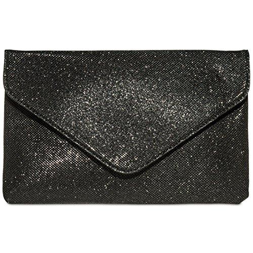 caspar-ta357-grand-sac-a-main-enveloppe-en-tissu-brillant-pour-femme-clutch-elegant-couleurnoirtaill