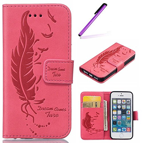 Für iPhone 6 6S Plus Hülle Flip Case,EMAXELERS iPhone 6S Plus Case,iPhone 6 Plus Case, iPhone 6S Plus Hülle Leder,Solid Feder Muster Hülle chutzhülle Case Cover Etui Schale mit Standfunktion Kartenfäc Feather 1