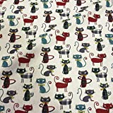 Stoff Baumwollstoff Meterware Katzen Karos weiß rot grün