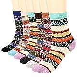 Fixget 6 Pairs Wool Women Socks, dicke gestrickte warme Wollsocken im Vintage-Stil, warme bequeme warme dicke Socken für Damen