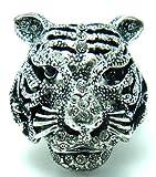 Ringe Fingerring XL-Statement Strass Ring Tiger Strass besetzt alle Größen (Weiss)
