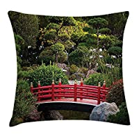 tgyew Japanese Throw Pillow Cushion Cover, Bridge Over Pond in Japanese Garden Monte Carlo Monaco with Trees and Plants, Decorative Square Accent Pillow Case, 18 X 18 inches, Red and Green
