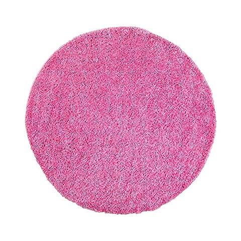 Uni Hochflor Shaggy Teppich Einfarbig Pink Neu Öko Tex 80x80 cm Rund