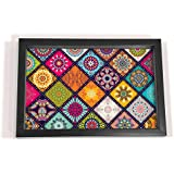 "Multi Mandala Design Black Border 8x12 Tray - Kitchen, Dining, Serving & Desk Tray is made of Fibre frame with Acrylic insert in Rectangle Shape Size 8"" x 12"" by Brahma Design"