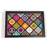 #6: Multi Mandala Design Black Border 8x12 Tray - Kitchen, Dining, Serving & Desk Tray is made of Fibre frame with Acrylic insert in Rectangle Shape Size 8