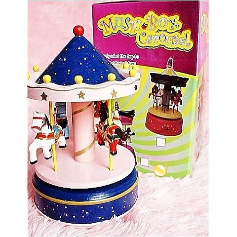 LBLI un regalo di compleanno merry-go-round carillon di Music Box di legno cielo della città (Go Round Box Musica)