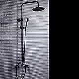Ensemble de douche douche réglable bronze antique à noire américaine, noir brossé pomme de douche en cuivre antique, résistant à la corrosion d'eau robinets