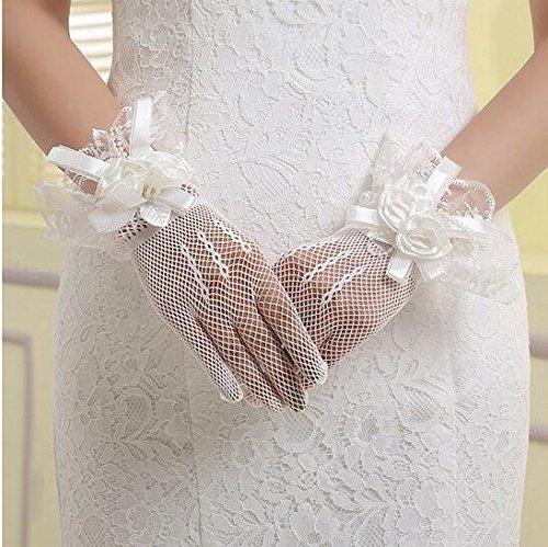 KHSKX-Braut Handschuhe Hochzeit Handschuhe Spitzen Kurze Koreanischen Alles Bezieht Sich Auf Die Weißen Handschuhe Elastisch Fett Mm Können Formelle Kleidung Accessoires -