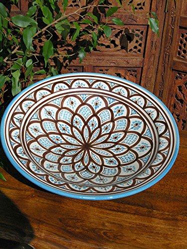Grande assiette dans un motif Turquoise traditionnel marocain