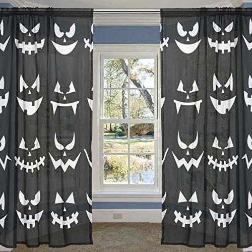 COOSUN Scary Halloween Kürbis-Gesichter auf Schwarzem Hintergrund Sheer Curtain Panels Tüll Polyester Voile Fenster Treatment Panel Vorhänge für Schlafzimmer Wohnzimmer Inneneinrichtungen, 55x84 Zol
