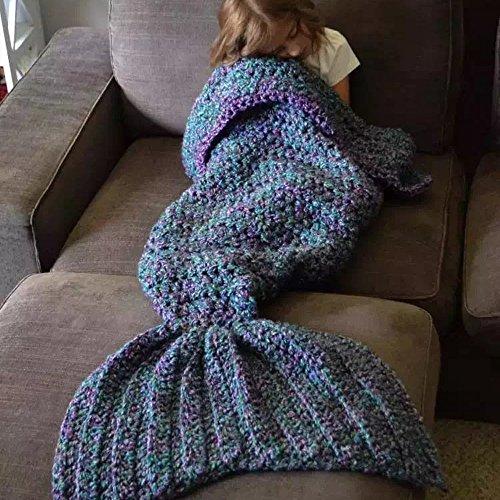 Meerjungfrau Schwanz Decke Strickmuster für Geschenk für Erwachsene 80store blau