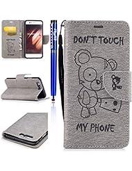 FESELE Huawei P10 Cuir Coque DON'T TOUCH MY PHONE Cartoon Ours Motif Portefeuille Couverture de Cas pour Huawei P10 Cuir PU Style Livret de Fermeture Magnétique PU Cuir Wallet Retourner Housse Fente pour Carte et Billets de Poche Avec Dragonne pour [ Huawei P10 ] + 1 x Pen Bleu Stylus - Gris