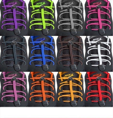 Price comparison product image SODIAL(R) Locking Shoe Laces Elastic Shoelace Running Sports 110cm 1pair Black