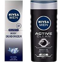 NIVEA MEN Body Deodorizer, Ice Cool, 120ml and NIVEA MEN Hair, Face & Body Wash, Active Clean Shower Gel, 250ml