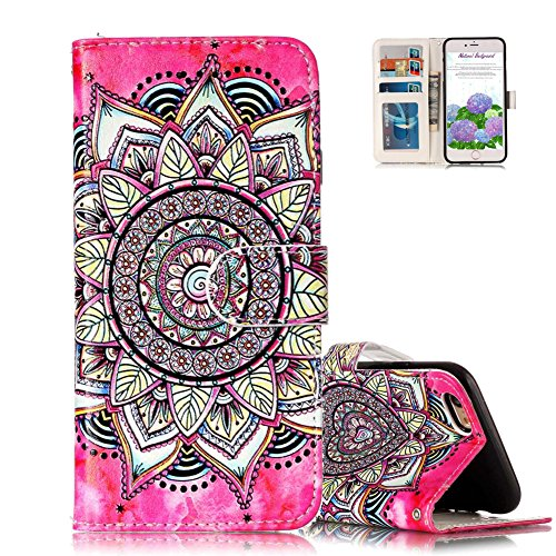 Touch Pink Leder (iPod Touch 5 Schutzhülle,Ledertasche für iPod Touch 6, Aeeque [3D Relief Hot Pink Sonnenblume Muster] Kartenfach Standfunktion PU Leder Wallet Case Cover Handy Hülle Etui Handytasche mit Weich Silikon Innere Bumper Schale für iPod Touch 5G / 6G)