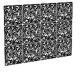 Kernorv Écrans de diviseur de Salle de Bricolage en PVC respectueux de l'environnement, écran de Panneau Suspendu Simple et Moderne pour décorer Le Repas, l'étude et Le Salon, l'hôtel 12PCS (Black)