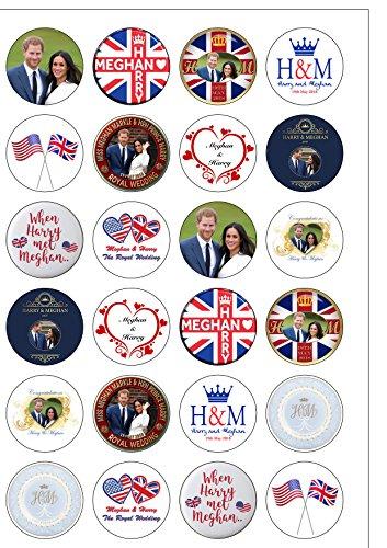 24vorgeschnittene, rundes, essbares Kuchen-Oblatenpapier für die royale Hochzeit 2018,12verschiedene Bilder