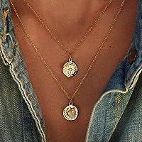 Jovono Bohemia Multi - Collar de capa con colgante de estrella y luna para mujeres y niñas (oro)