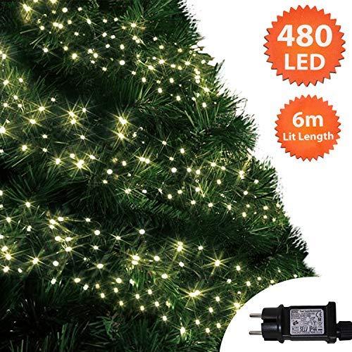Luces clúster Luces árbol blancas cálidas 480 LED