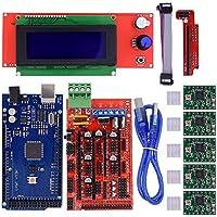 Panel de control BIQU Mega2560, pantalla LCD 2004con módulo controlador, placa Ramps 1,4, motor paso a paso A4988StepStick con disipador de calor para impresora 3D Arduino RepRap