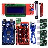 Biqu Mega2560 Carte decontrôle avec module d'affichage graphique intelligent LCD 2004, carte Ramps 1.4Mega Shield, pilote de moteur pas à pas Stepstick A4988 avec dissipateur de chaleur pour imprimante 3d Arduino RepRap