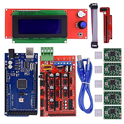 BIQU Mega2560 Control Board + LCD 2004 Graphic Smart Display Controller Module + Ramps 1.4 Mega Shield+A4988 Stepstick Stepper Motor Driver with Heat Sink for 3D Printer Arduino