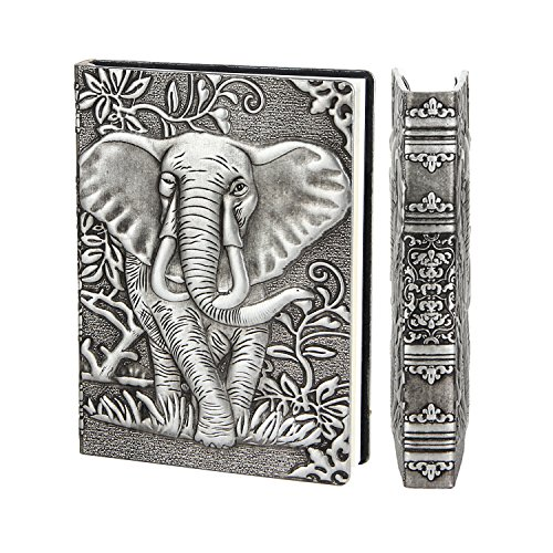 YHH A6 Tagebuch Liniert, Hardcover Notizbuch PU Leder Notizblock Reisetagebuch zum selberschreiben Writing Notebook Travel Journal Diary Geschenk für Frauen Kids Reisende klein Geprägt Elefant Silber (Notebook Paper 7 X 9)