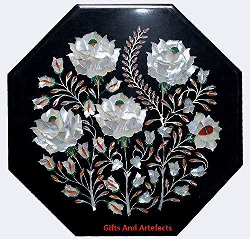 Inlay-top-couchtisch (Gifts And Artefacts Mutter der Perle Stein 30,5cm Octagon schwarz Marmor Couchtisch Top Inlay Blume Art)